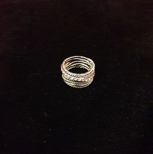 Silver Multi Text Ring